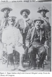 Yaqui Indian chiefs with General Obregón's army